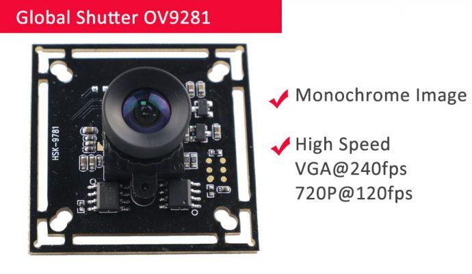 OV9281 global shutter camera 240fps USB
